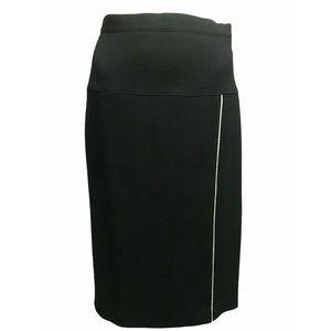 ESCADA Black Wool & White Silk Thigh Split Skirt